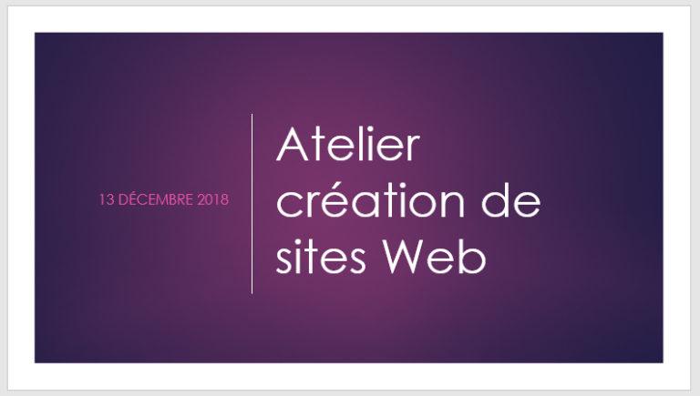 """Atelier """"la création de sites Web"""" animé par La Griffe Éditoriale"""