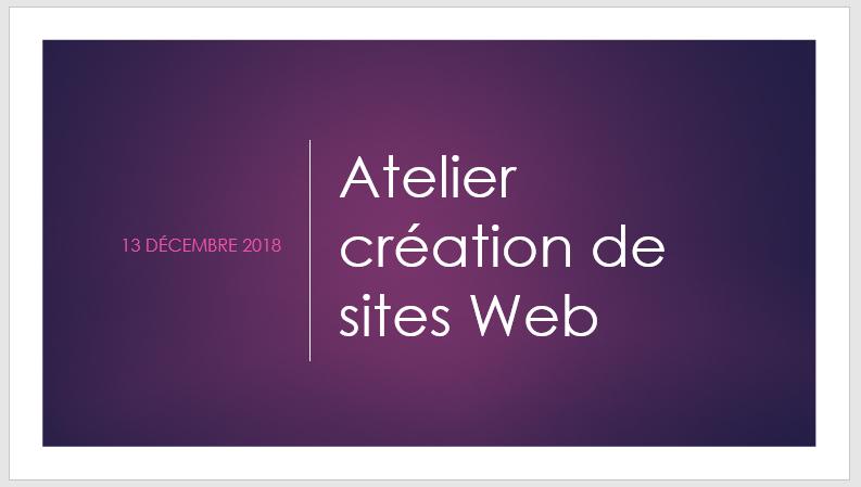 Diaporama atelier création de sites Web - Forces Femmes - décembre 2018