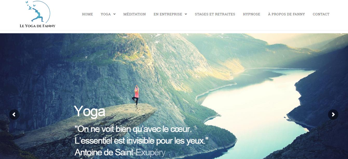 Visuel de la page d'accueil du site Web Le yoga de Fanny