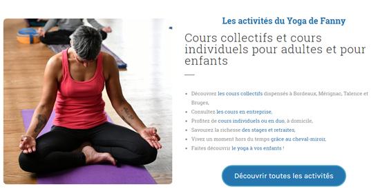 Visuel de la page d'accueil : les activités du yoga de Fanny