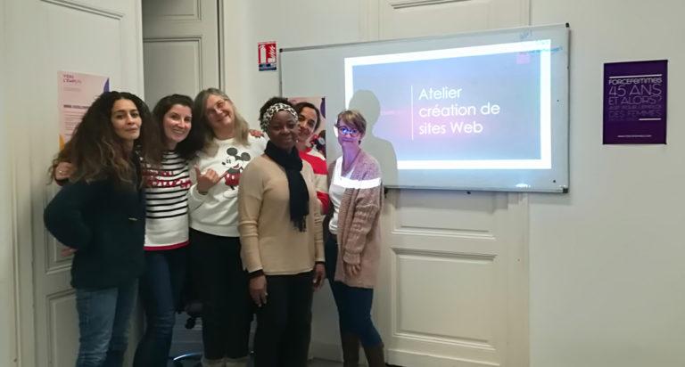 Atelier création de site web le groupe des créatrices suivies par Force Femmes - décembre 2019