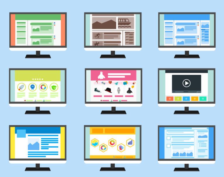 Choisir un thème WordPress pour mon site web : différents écrans montrant différents affichages et mises en page